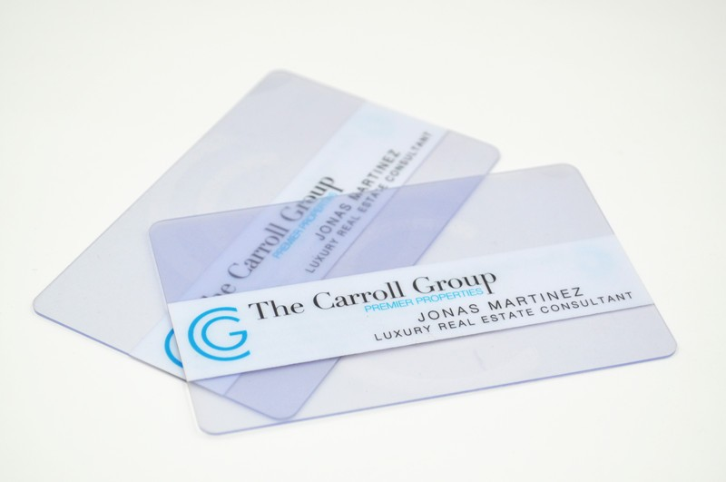 Plastic clear business card cmyk full color transparent business card reheart