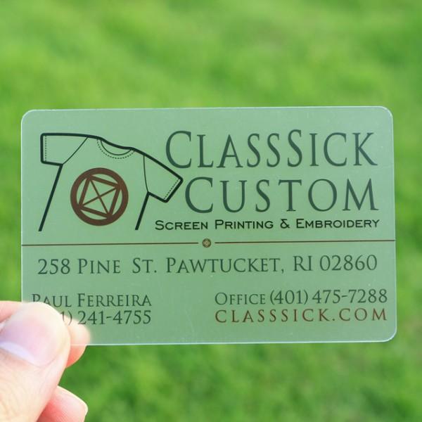 transparent pvc cards - Screen Printing Business Cards