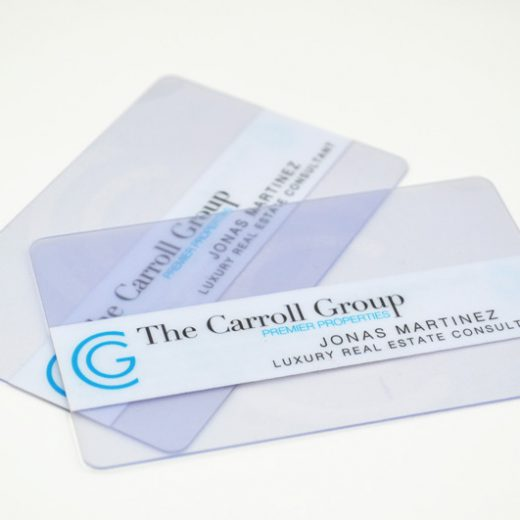 plastic clear business card