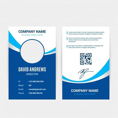 An ID card with a bar code or qr code