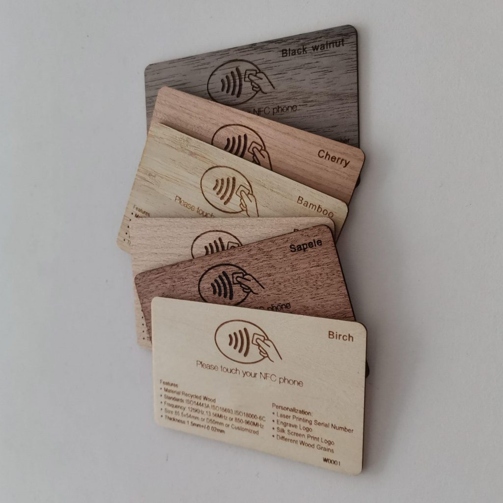Wooden cards of various woods